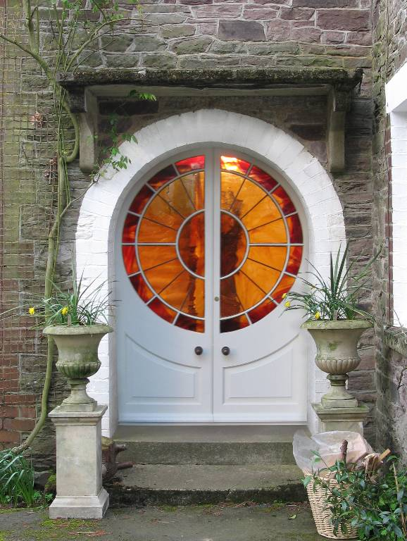 Art deco double doors in painted timber with hand blown stained glass, 2005