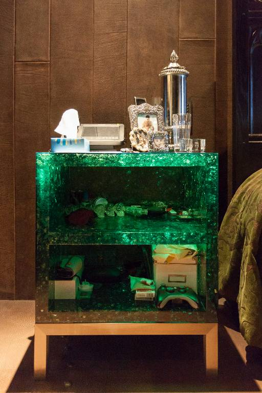 Bedside table in translucent green resin filled with shattered glass on a stainless steel base, 2016