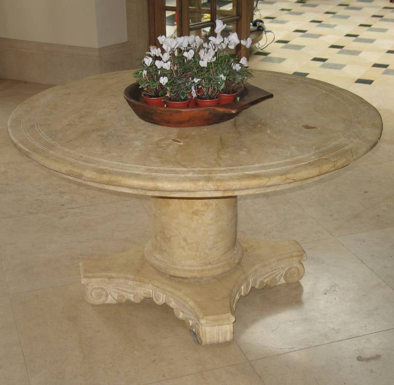 Classically inspired hall table in cathedral gold stone, 2002