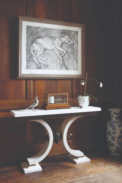 Console table in bleached oak with bronze detailing and limestone top, 2008