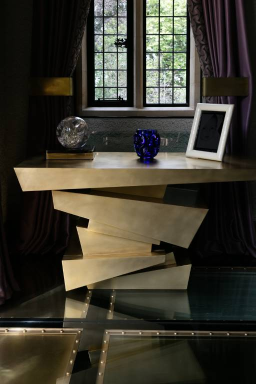 Console table in polished brass, 2012