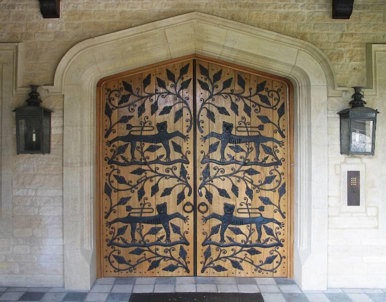 Double doors in oak and wrought bronze, 2002