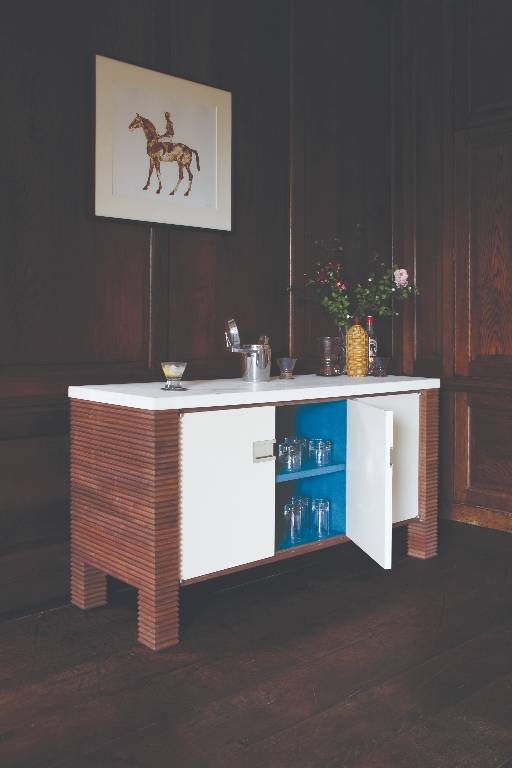 Felt lined side cabinet in polished walnut with lacquered doors and limestone top with nickel details, 2008