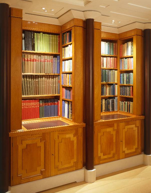 Fitted bookcases cuban mahogany stone and leather, 2003