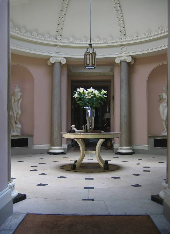 Hall table bleached oak with bronze feet and an emperador marble top, 2007