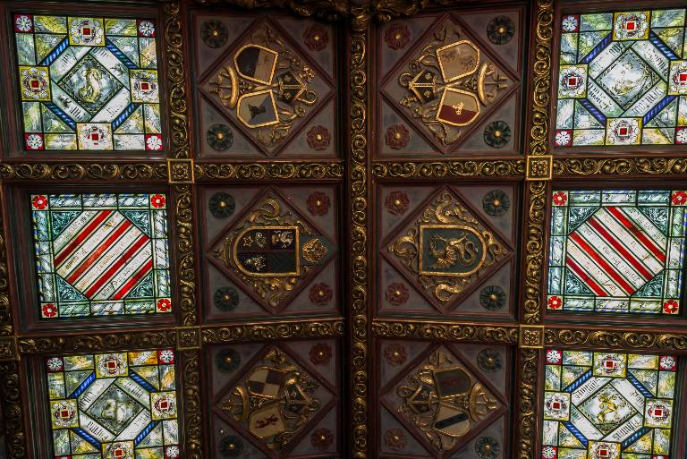 Heraldic ceiling (detail) painted and gilded plasterwork with stained glass panels, 2010