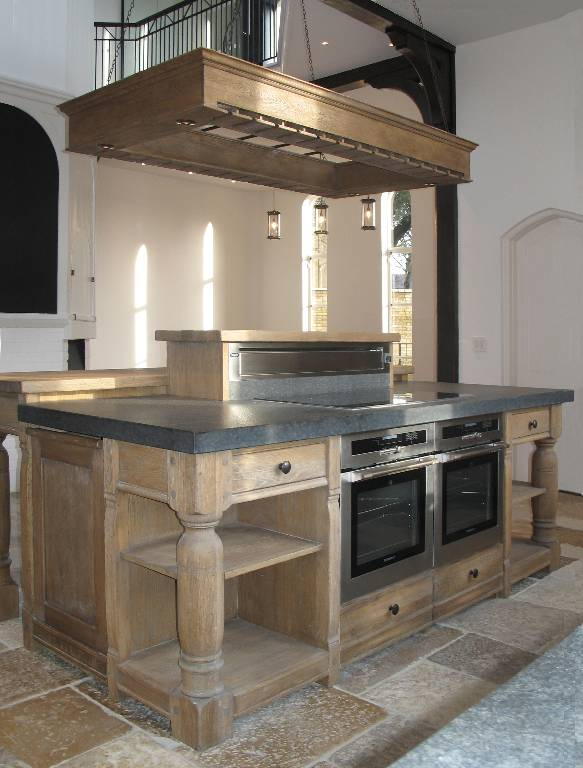 Kitchen island in fumed oak with punched slate top, 2007