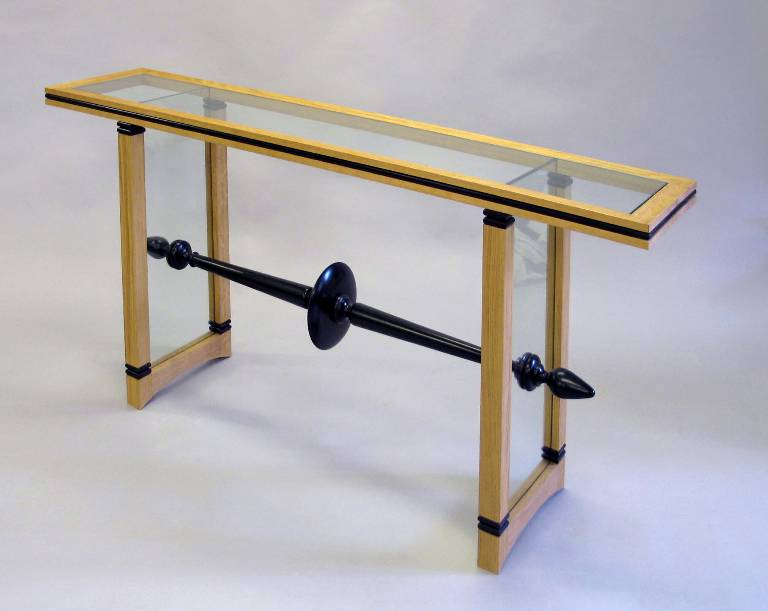 Oak ebony and glass console table, 2005
