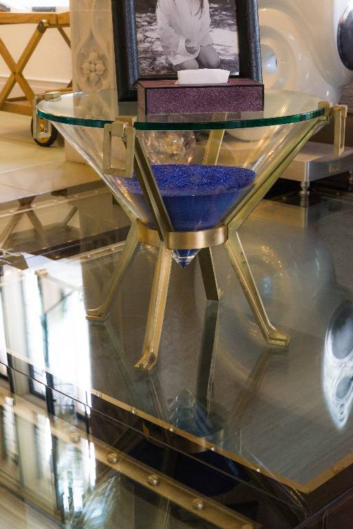 Occasional table in brass glass and acrylic, 2013