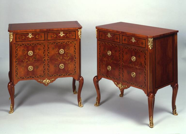 Pair of marquetry commodes with ormolu mounts, 2003