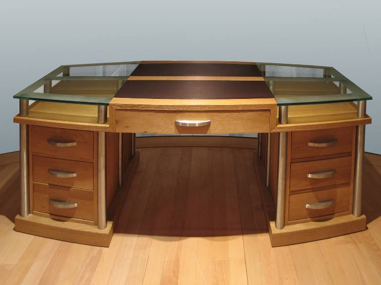 Partner's desk in sandblasted oak with stainless steel leather and sandblasted glass details, 2005