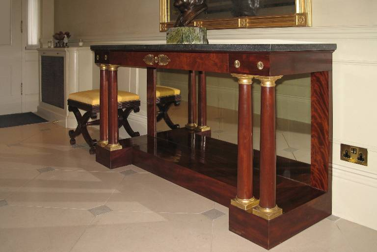 Regency console table in cuban mahogany with ormolu mounts and a lava stone top, 2005