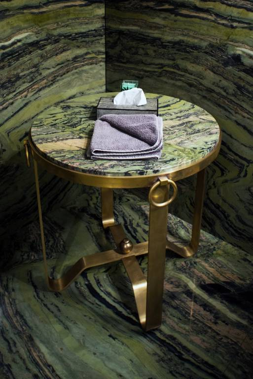 Side table in polished brass with a fossilised bamboo top, 2014