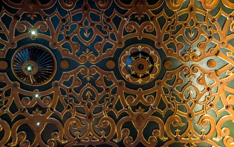 Strapwork fibrous plaster ceiling finished in faux leather lacquer gilding and rust, 2013