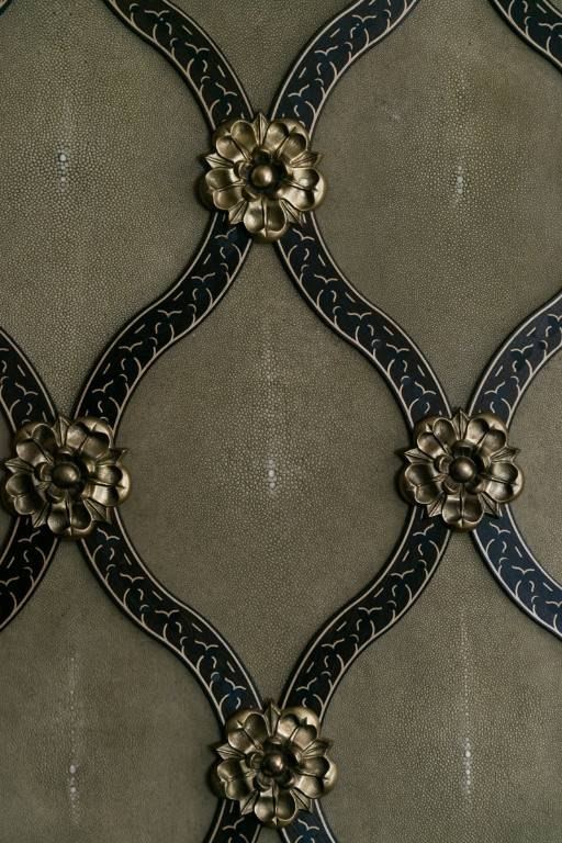 Wall panelling shagreen marquetry and bronze, 2010