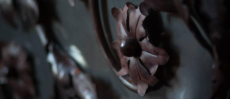 Metal detail on Mirror by Misti Leitz