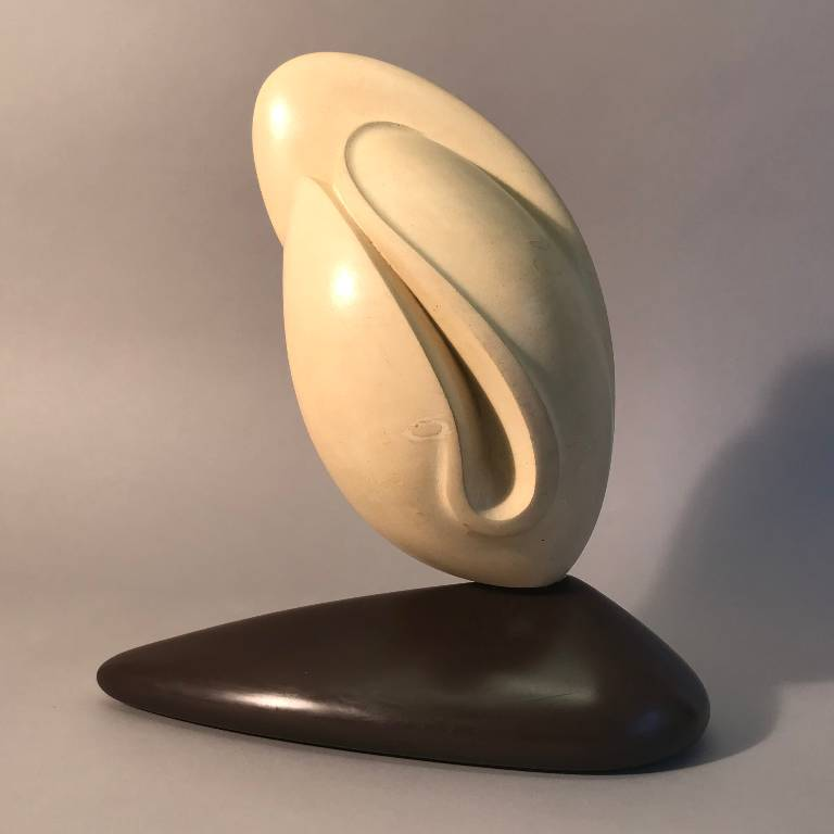 Side view of bud a bath stone sculpture by Misti Leitz