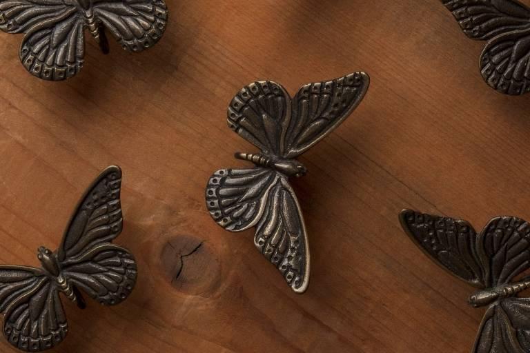 Butterfly picture hooks in bronze by Misti Leitz