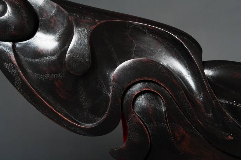 detail of the ebonised ash sculpture