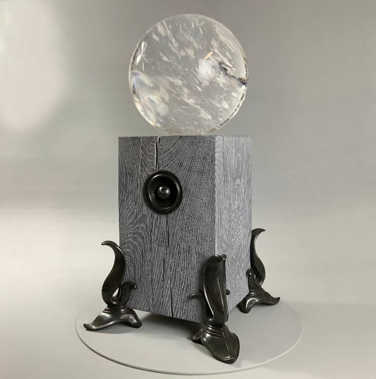 Luminaire a beautiful designer lamp in quartz, oak and bronze by Misti Leitz