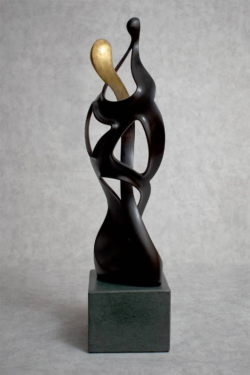 Ebonised lime wood sculpture Mother and Child by Misti Leitz (rear view)
