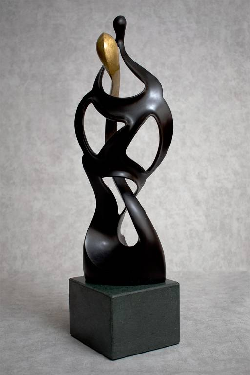 Beautiful gilded and ebonised lime wood sculpture by Misti Leitz